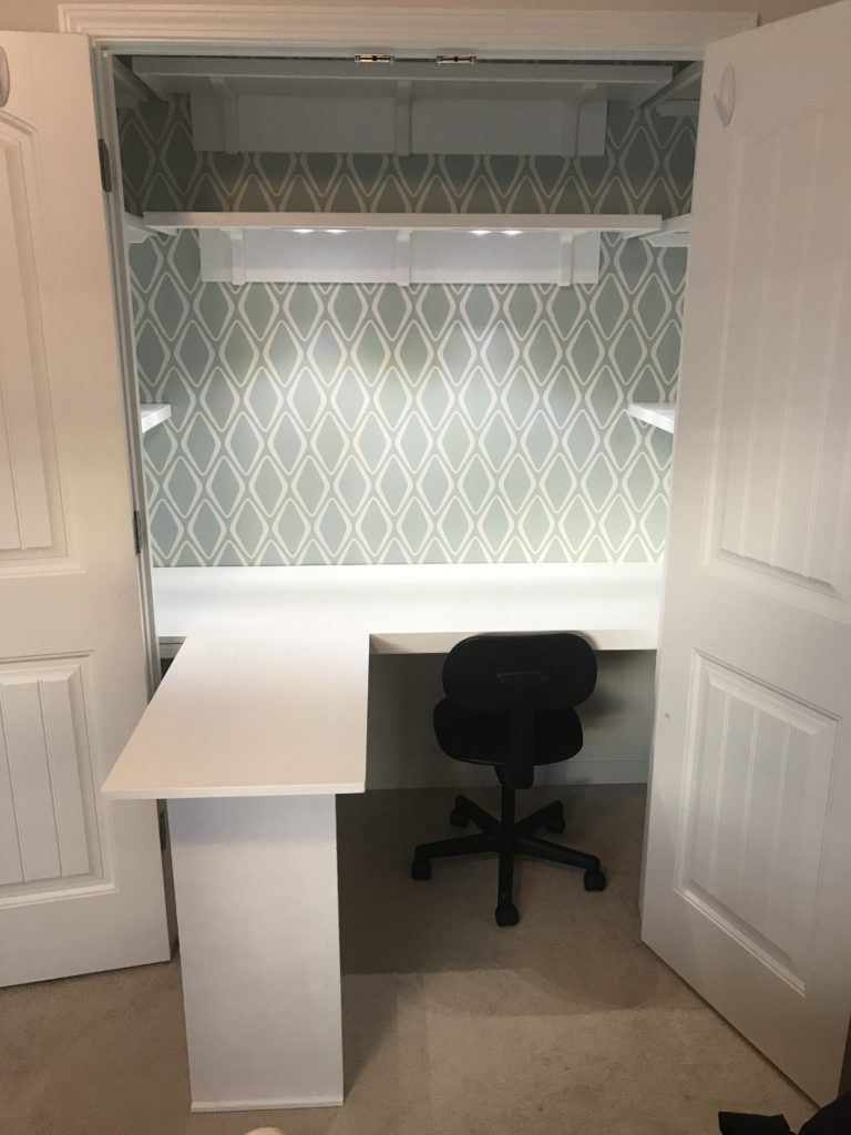 Here is the final product of the closet office makeover with the workspace extension in place. Look how seemlessly it gives the added workspace and a clean look. I'm so in love! Check out the blog post for more details.